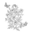 coloring page with roses and butterflies vector image