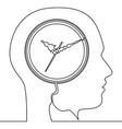 continuous one line human head with clock icon vector image