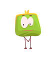 cute shy purse character funny green humanized vector image vector image