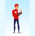 delivery guy at work vector image vector image
