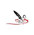 feather pen and heart vector image