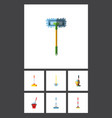 flat icon cleaner set of cleaner besom mop and vector image vector image