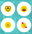 Flat icon expression set of pleasant party time vector image