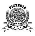 fresh baked pizza emblem badge label or vector image vector image