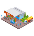 fuel station isometric composition vector image