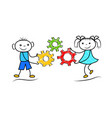 funny stickman boy and girl holding gears cartoon vector image vector image