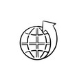 globe with latitudes hand drawn sketch icon vector image