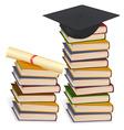 graduation cap and diploma lay vector image vector image