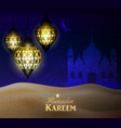 hanging lanterns in the desert at night sky vector image
