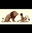 lion and mythological feminine character vector image