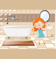 little girl combing hair in bathroom vector image vector image