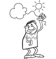 man with cloud on string coloring page vector image vector image