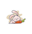 mascot bunny sleeping along with carrot vector image vector image