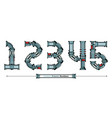 numbers typography font robotic style in a set vector image