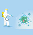 people in protective suit or clothing spray to vector image vector image