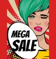 pop art woman mega sale banner speech bubble vector image vector image