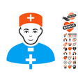 priest doctor icon with dating bonus vector image vector image