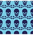 Seamless pattern with skull and crossbones on blue vector image vector image