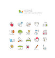 set flat line icons heart attack vector image