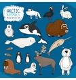 set hand-drawn arctic animals vector image