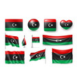set libya flags banners banners symbols flat vector image