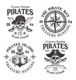 set of four pirates vintage emblems labels vector image vector image