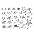 set of hand drawn creative star icons isolated vector image vector image