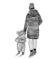 sketch a young mother with her kid going on a vector image vector image