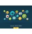 Social media network background with integrate vector image vector image