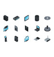 technology hardware device computer icons set vector image vector image