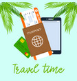 travel time square poster with calligraphy vector image vector image