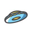 ufo ship space aliens plate icon cartoon vector image vector image