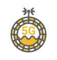 unusual flat 5g sticker icon with geometric design vector image