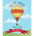 Wedding Card with hot air balloon vector image