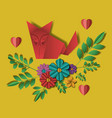 wild life digital crafts in floral decoration vector image