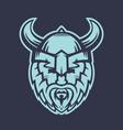vikings logo element warrior in helmet with horns vector image