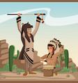 american indian cartoon in desert vector image