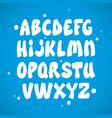 liquid comic font with splashes alphabet vector image