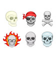 skull icon set cartoon style vector image