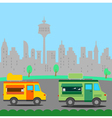 Mobile Truck food store with city background vector image