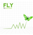 Success graphic with emerald butterfly vector image