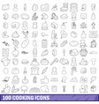 100 cooking icons set outline style vector image vector image