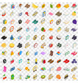 100 fineness icons set isometric 3d style vector image vector image