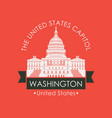 banner with capitol building in washington dc usa vector image vector image