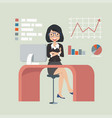 businesswoman sitting chair concept in vector image