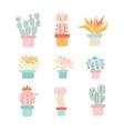 cactus sketch print cactus set vector image