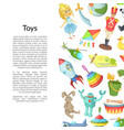 cartoon children toys place for text vector image vector image