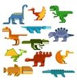 Cartoon flat dinosaurs and aquatic reptiles vector image
