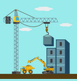 construction site machines building a building vector image vector image