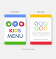 creative kids restaurant menu or brochure template vector image vector image
